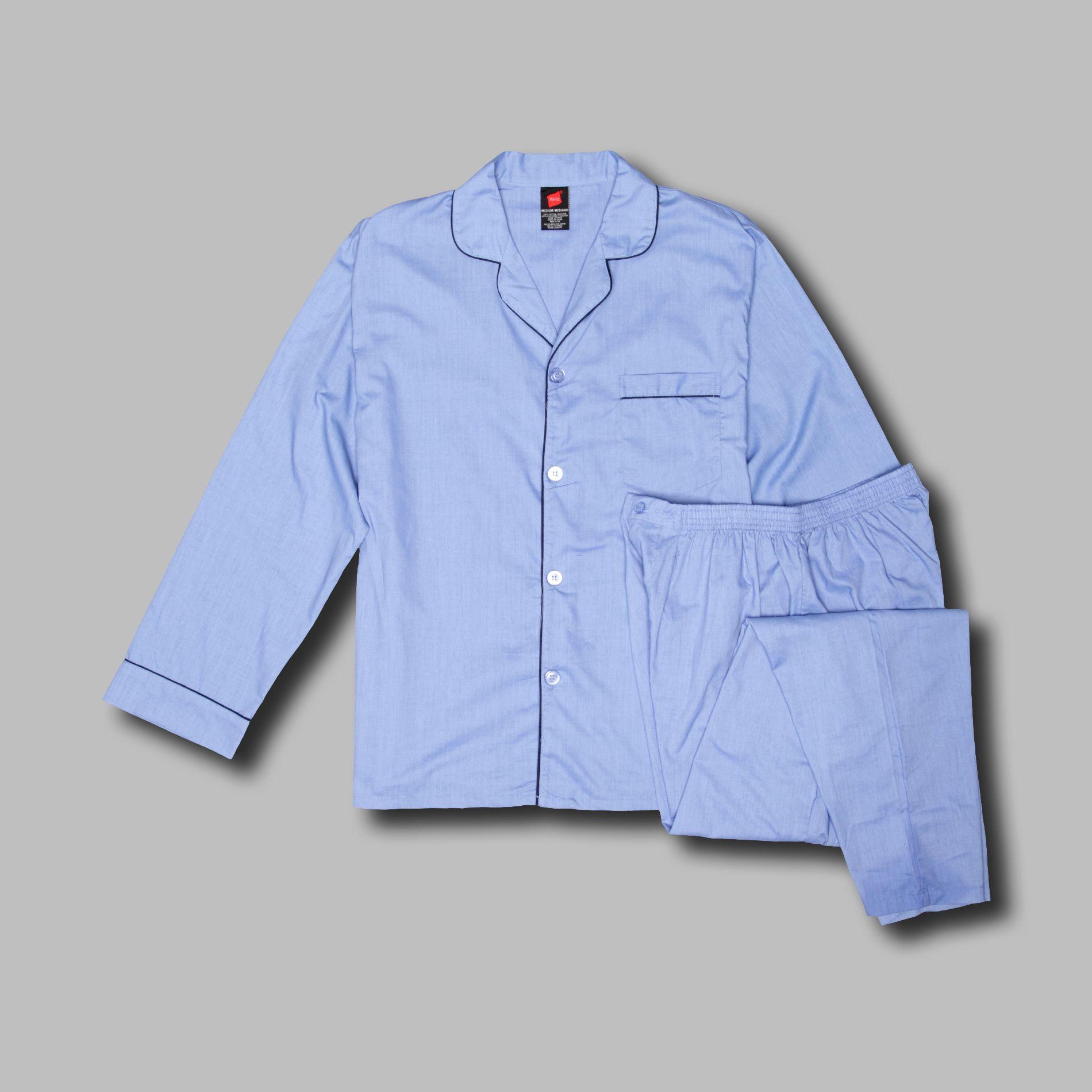 Hanes Men's Pajama Set Woven Long Sleeve $5.83 [Reg $18.99]