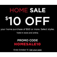 Kohls Deal: $10 off $50 on Home Purchases @ Kohls (+ 15% off for everyone or 20% off for Kohl's Cardholder) Free Shipping