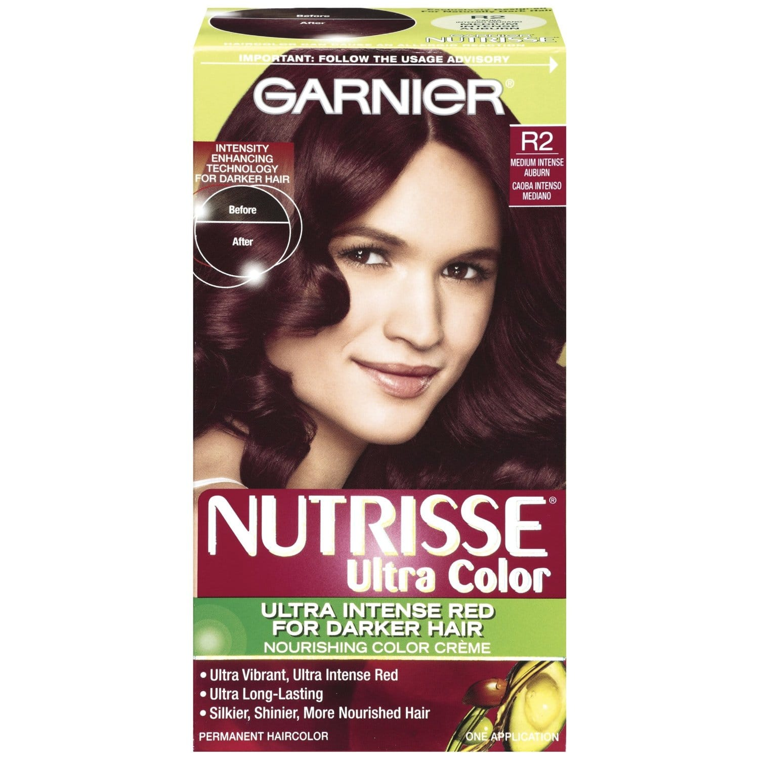Garnier Nutrisse Ultra Color Nourishing Color Creme, R2 Medium Intense Auburn $1.13 or less + free shipping