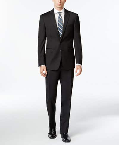 Calvin Klein Men's Solid Wool Charcoal Slim X Fit Suit  $112.50 + Free Shipping