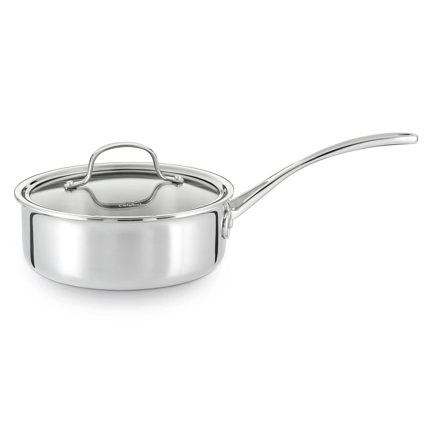 2.5-Quart Calphalon Tri-Ply Stainless Steel Covered Shallow Saucepan  $25.50