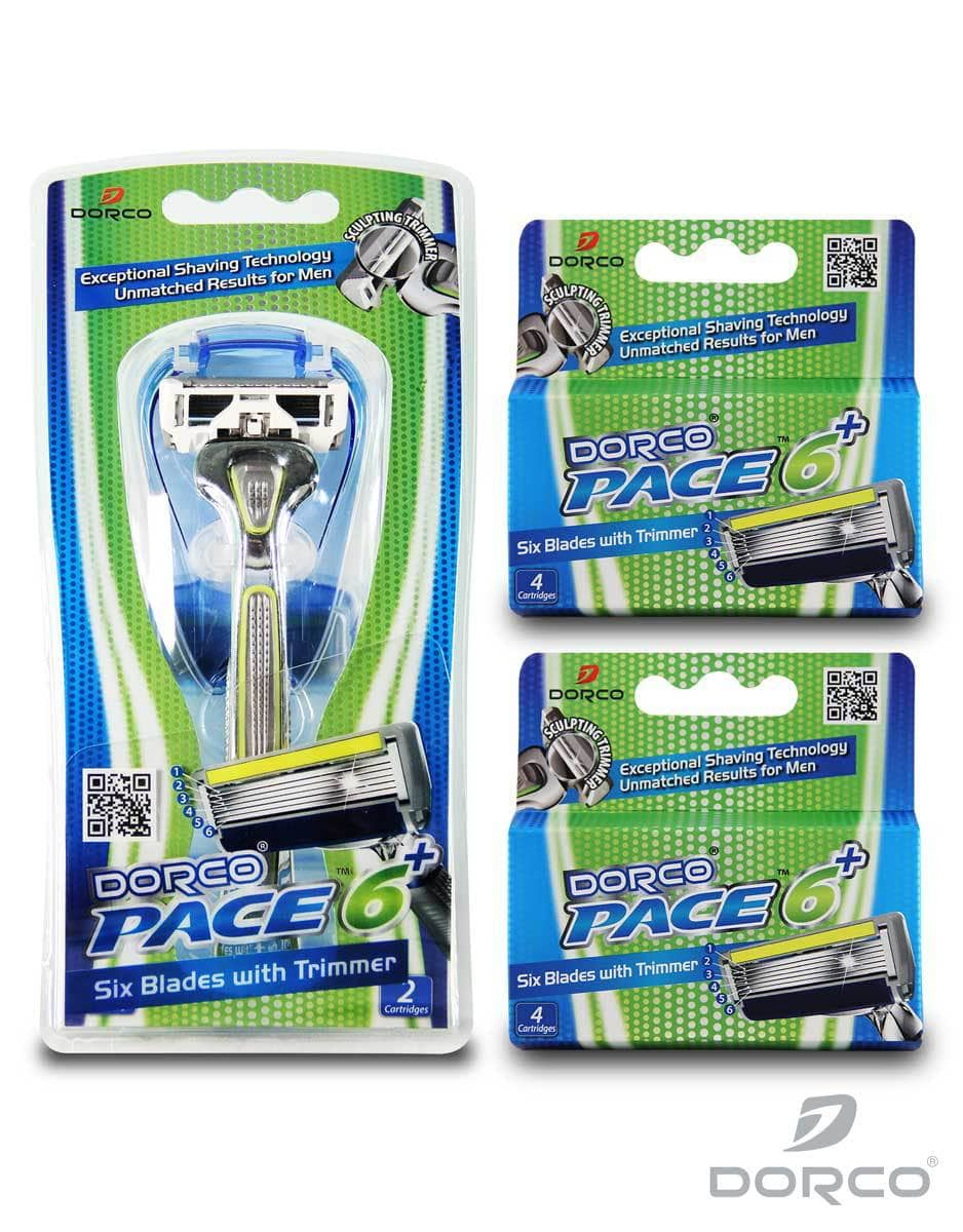 Dorco Men's Pace 6 Plus Six Blade Shaver & Trimmer w/ 10 Cartridges  $11.75 + Free Shipping