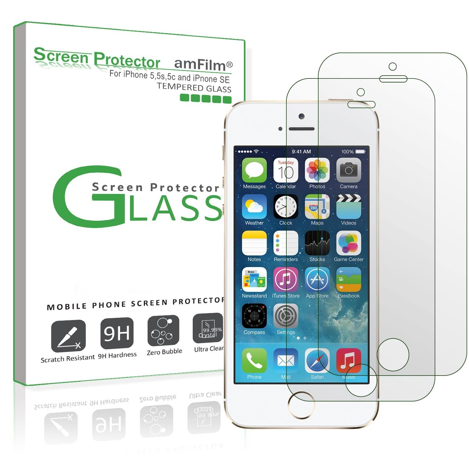 iPhone SE Screen Protector Glass (2-Pack), amFilm $1.99 free/prime shipping on amazon after coupon