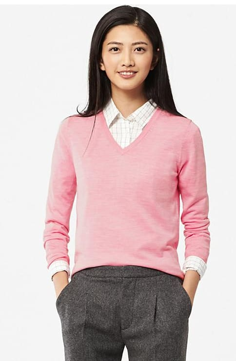 Women's Extra Fine Merino V-Neck Sweater (Red or Pink)  $9.90 + Free Shipping