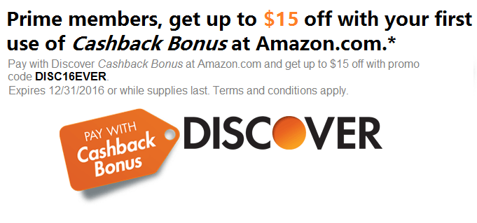 Amazon Prime & Discover Card Members: Pay w/ Points  Get Up to $15 Off (Exclusions Apply)