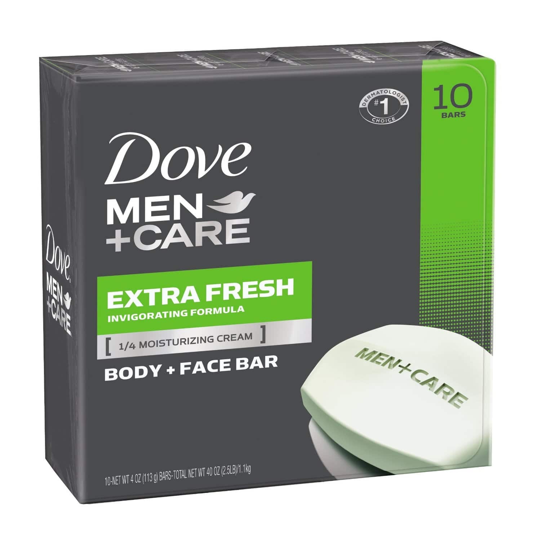 Dove Men+Care Body and Face Bar, Extra Fresh 4 oz, 10 Bar @ Amazon for $7.92