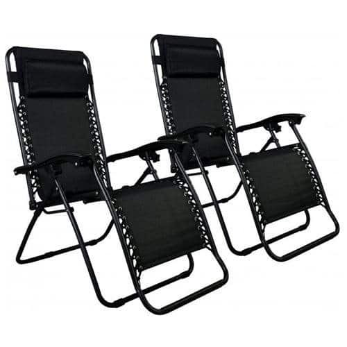 2-Pack Zero Gravity Lounge Patio Chairs (Black)  $55 + Free Shipping