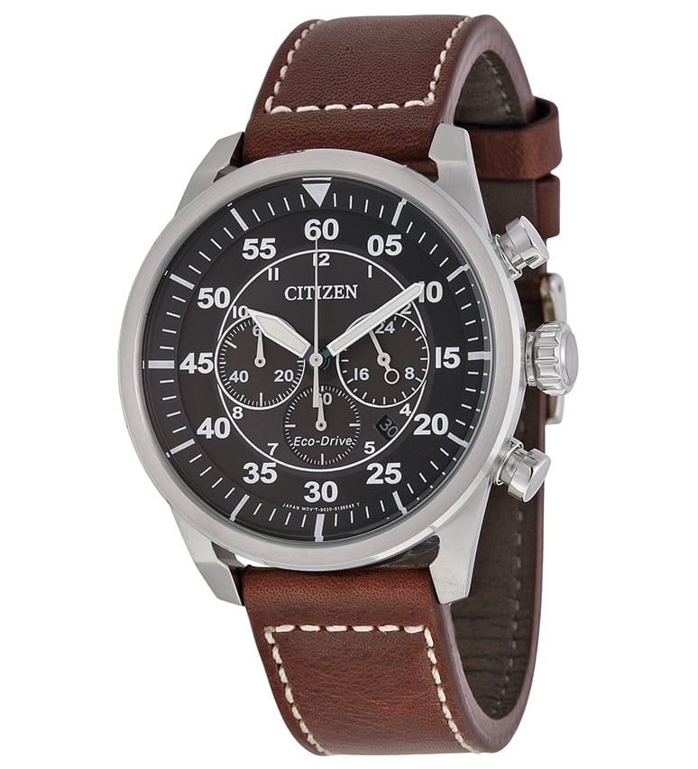 Citizen Men's Eco-Drive  Avion Black Dial Brown Leather Chronograph Watch  $131 + Free Shipping