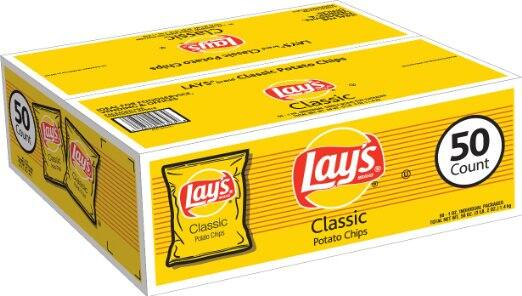 as low as $9.98 Lay's Classic Potato Chips, 50 Count x 1oz bags Amazon Subscribe & Save s&s +20% off coupon