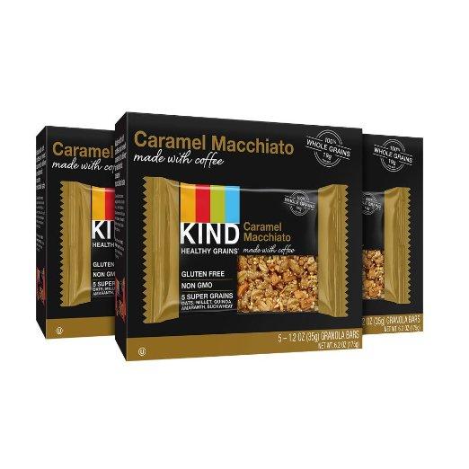 KIND Healthy Grains Granola Bars, Dark Chocolate Mocha or Caramel Macchiato, Gluten Free, 1.2oz Bars, 15 Count, $7.33 AC + 5% S&S @ Amazon