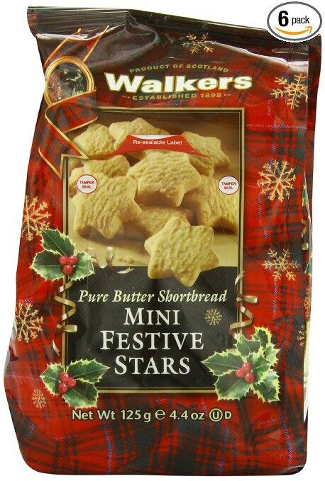 6-Pack of 4.4oz Walkers Shortbread Mini Festive Stars $9.09 or less + free shipping