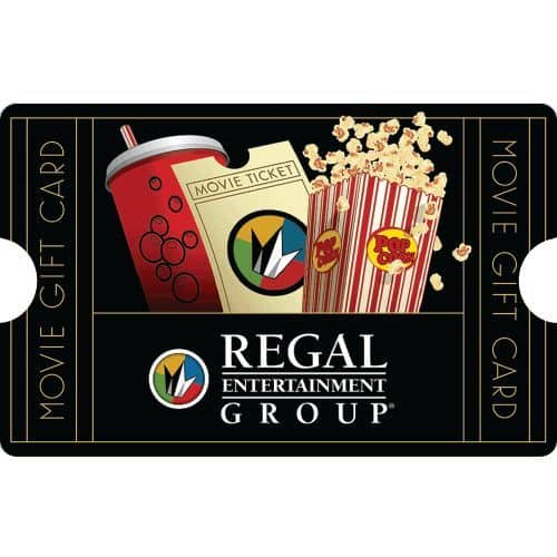 $50 Regal Entertainment Gift Card for only $40 + Free shipping (cardency via eBay)