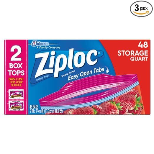 3-Pack of 48 Count Ziploc Storage Bags Quart $12.08 or less + free shipping