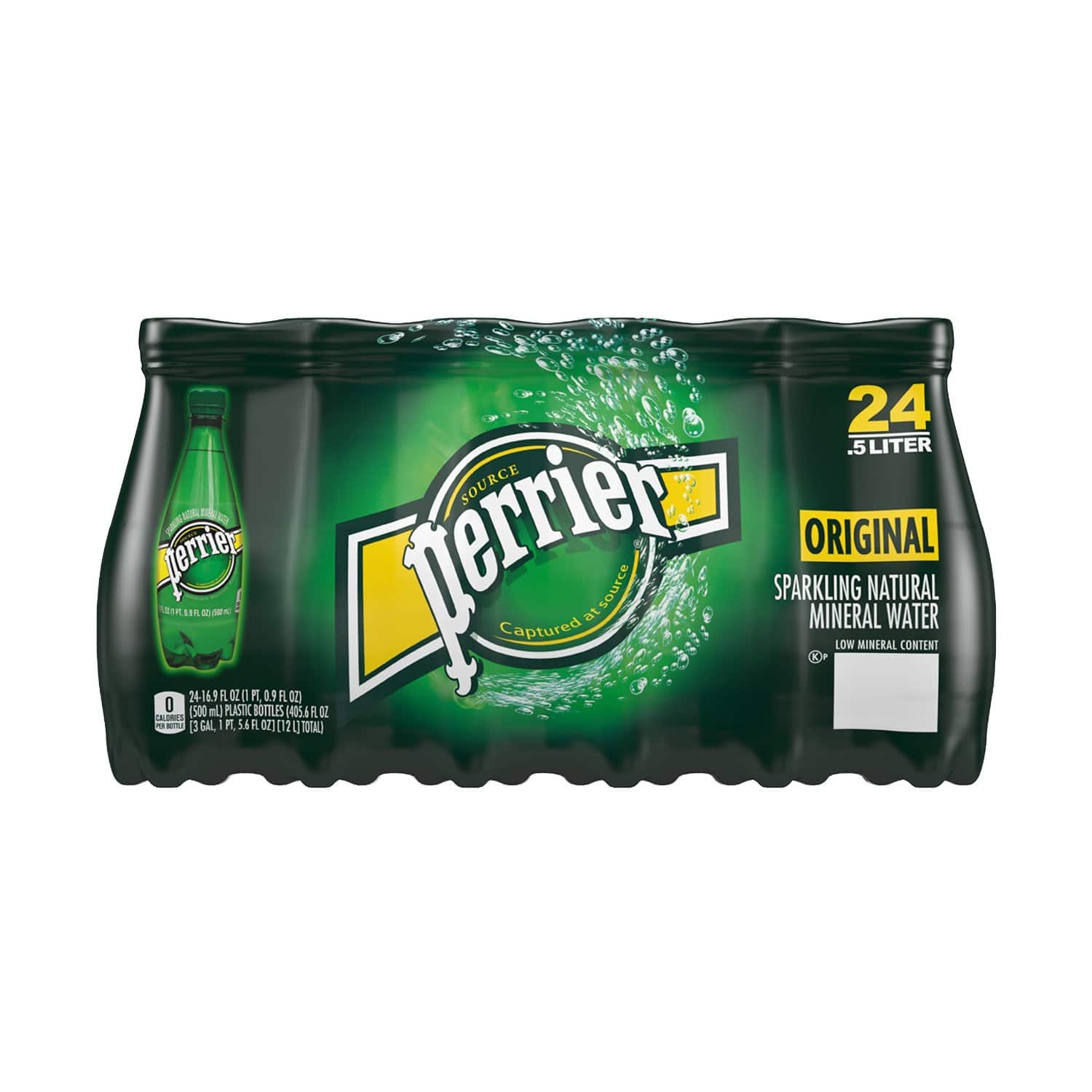 Perrier Sparkling Natural Mineral Water, 16.9-ounce plastic bottles 24-Pack $15.12 (5% S&S) or $13.53 (15% S&S) @ amazon
