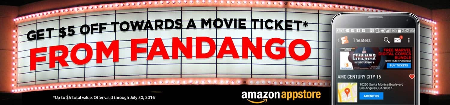 Amazon Underground: Download the Fandango app and Get  $5 Movie Credit (Android Device Req.)