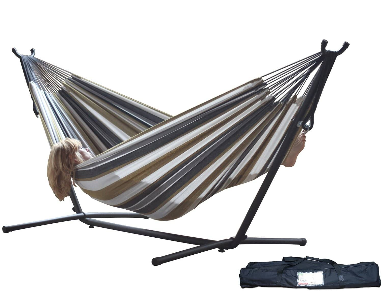 Prime Members:  Vivere Double Hammock with Steel Stand  $80 + Free Shipping