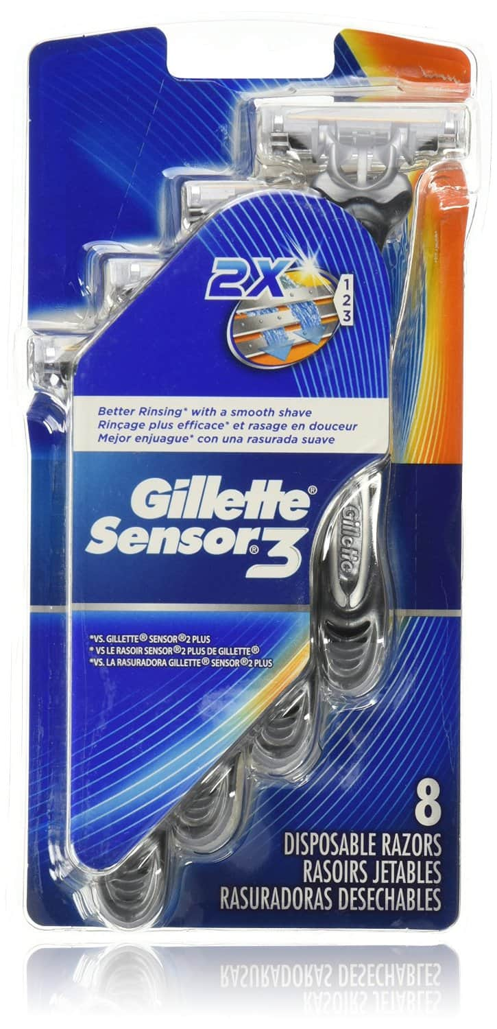 Prime Members: Gillette Sensor3 Smooth Shave Disposable Razor 8 Count - $ 3.49 + Free Shipping