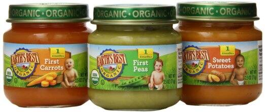 Earth's Best Organic Stage 1 Baby Food 12 pack 2.5 oz jars (My First Veggies/Fruits Variety Pack) for $7.86 (5% S&S) or $5.08 (15% S&S)