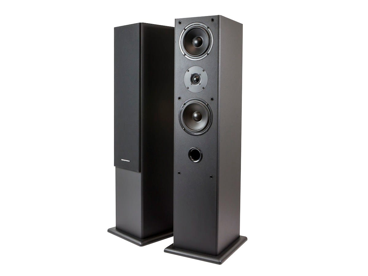 "Monoprice Premium Dual 5.25"" 2-Way Tower Speakers  2 for $50"
