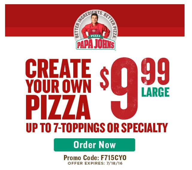 Large 7-Toppings or Large Specialty Papa John's Pizza  $10