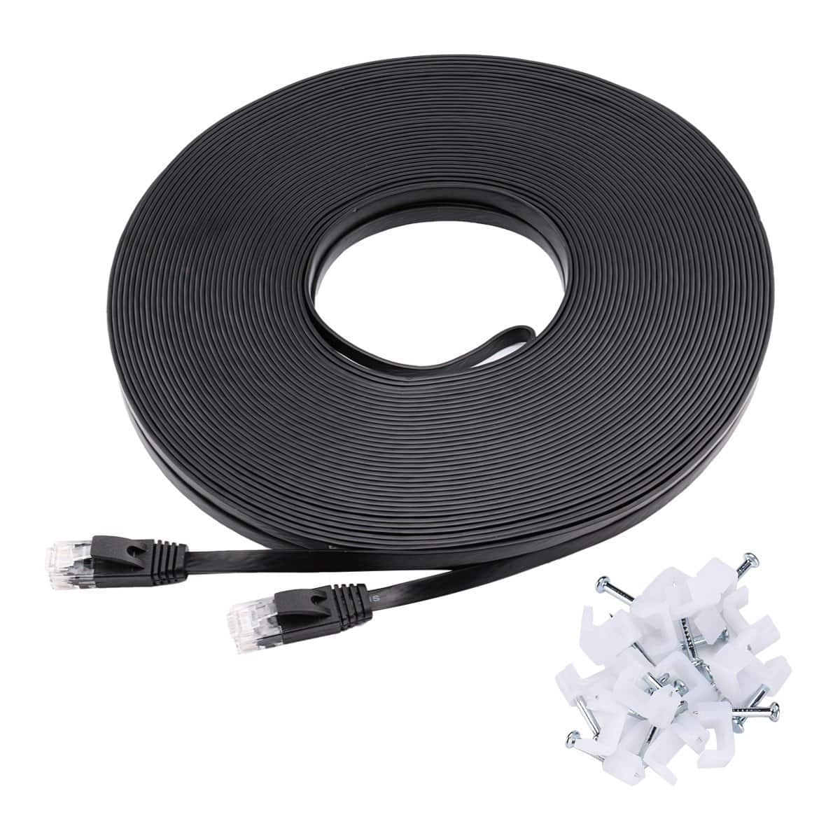 Cat6 Ethernet Cable Flat 100 ft w/ Clips $9 + FSSS