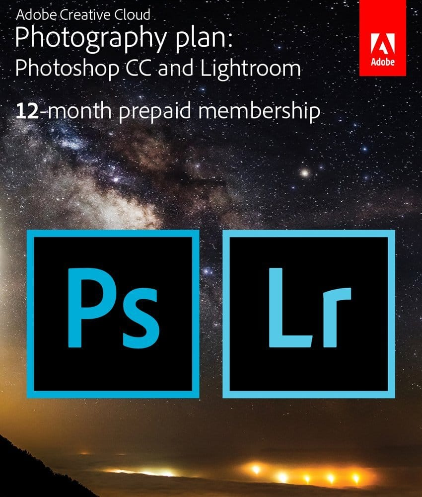 12-Month Prepaid Adobe Creative Cloud Membership (Photoshop CC + Lightroom Key Card/Download)  $95 + Free Shipping