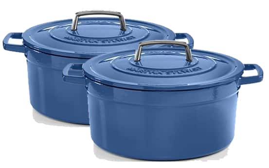 6-Qt Martha Stewart Enameled Cast Iron Covered Round Casserole (Cobalt Blue)  2 For $68 + Free Shipping