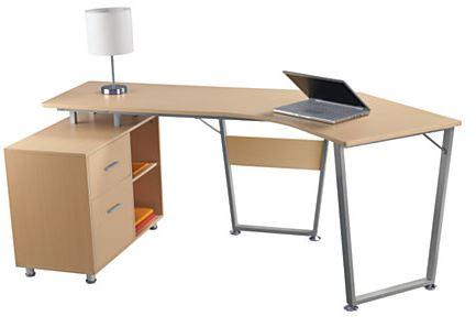 Realspace Brent Dog-Leg Desk (Oak)  $90 + Free Store Pickup