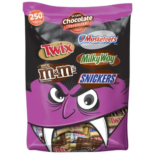 95.1oz Mars Chocolate Favorites Halloween Candy Bars Variety Mix (250-Piece)  $16