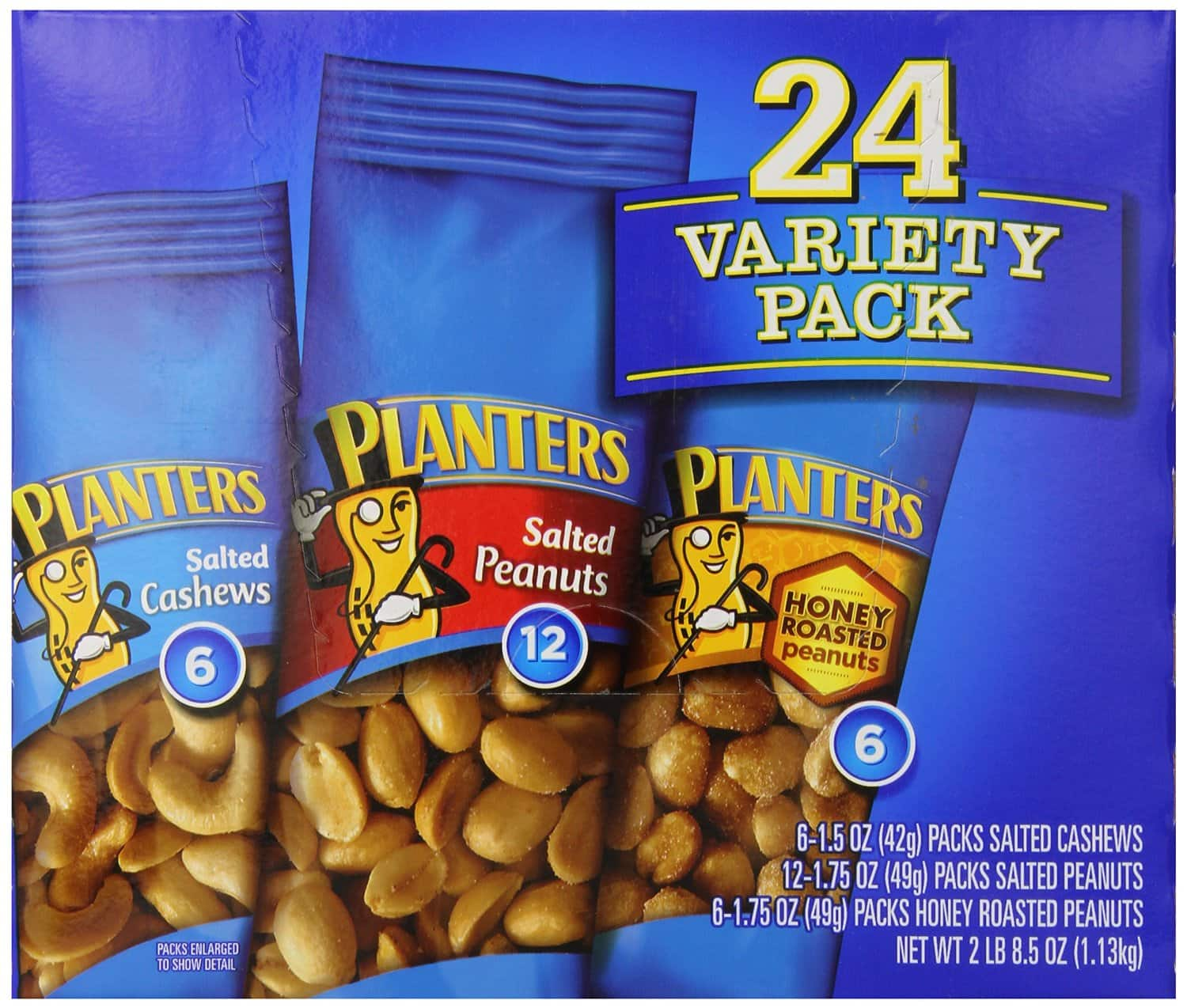 Back in Stock Planters 24-Pack Nut Variety Pack (2.5lbs total) $7.98 + Free Shipping with Subscribe and Save