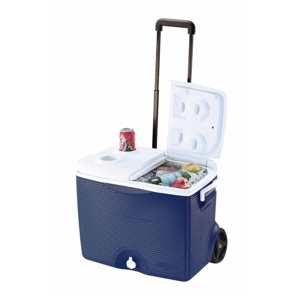 Rubbermaid 45-Quart Wheeled Cooler (Blue, Split Lid)  $25 + Free Store Pickup