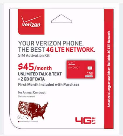 Verizon Prepaid SIM Activation Kit w/ 1-Month Unlimited Talk/Text & 2GB Data  $25 + Free Shipping