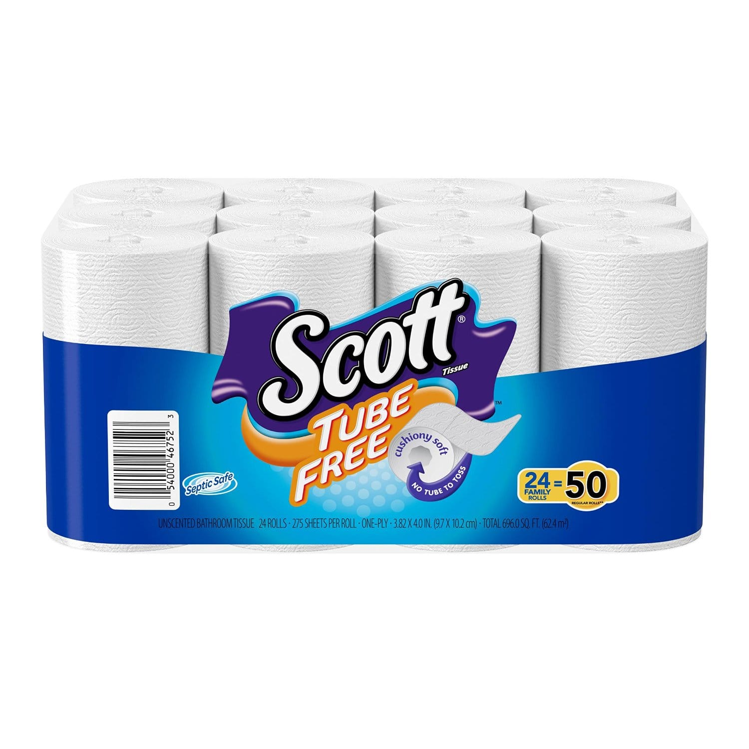 24-count of Scott Tube Free Toilet Paper Bath Tissue (Double Plus Roll) $8.49 or Less + Free Shipping Amazon.com