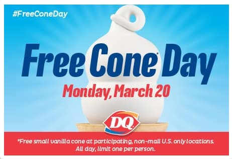 Dairy Queen Small Vanilla Ice Cream Cone  Free (Today Only)