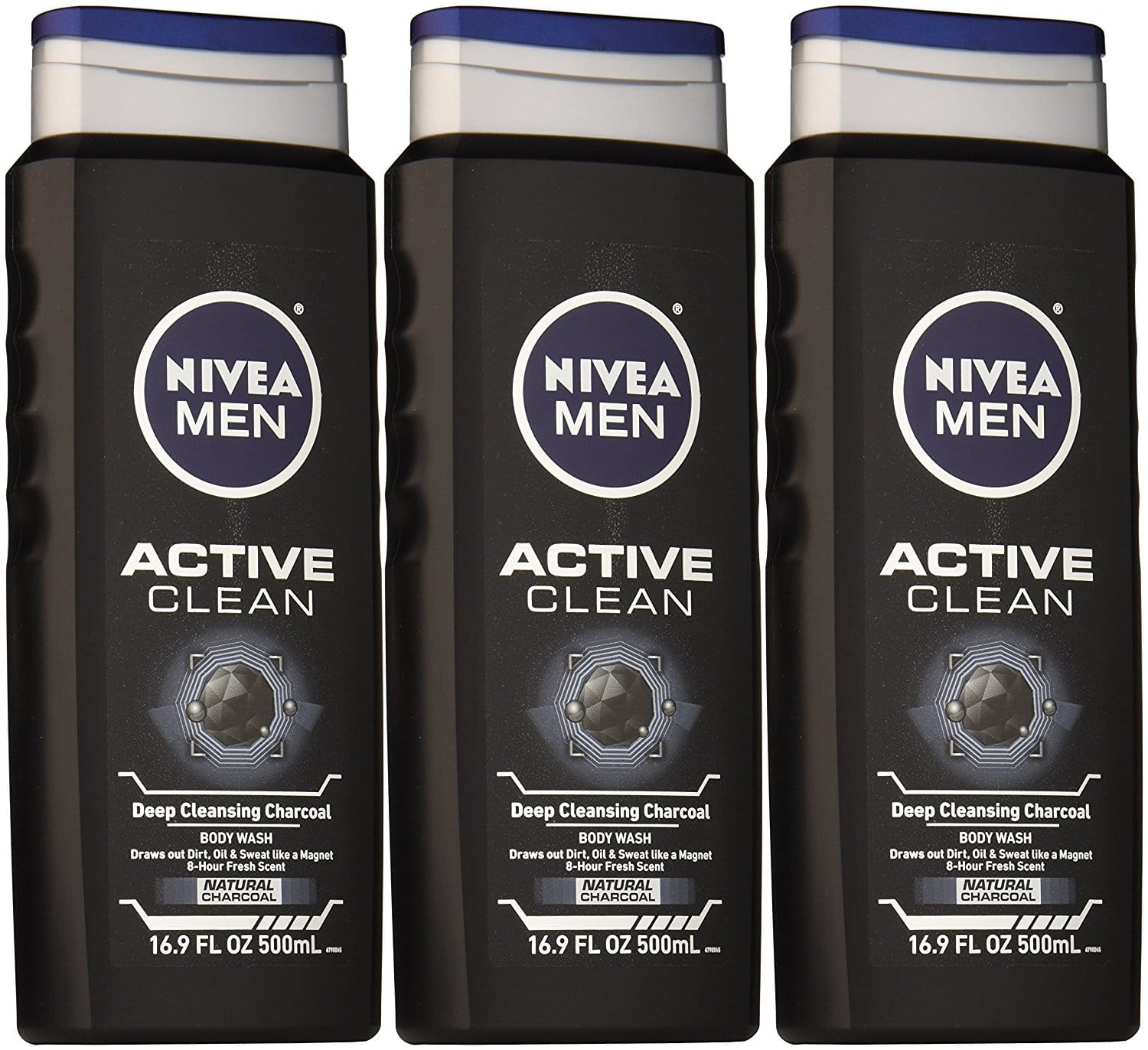 3-Pack of 16.9-oz Nivea Men Active Clean Body Wash (Natural Charcoal) $7.16 or less w/ S&S + Free S&H