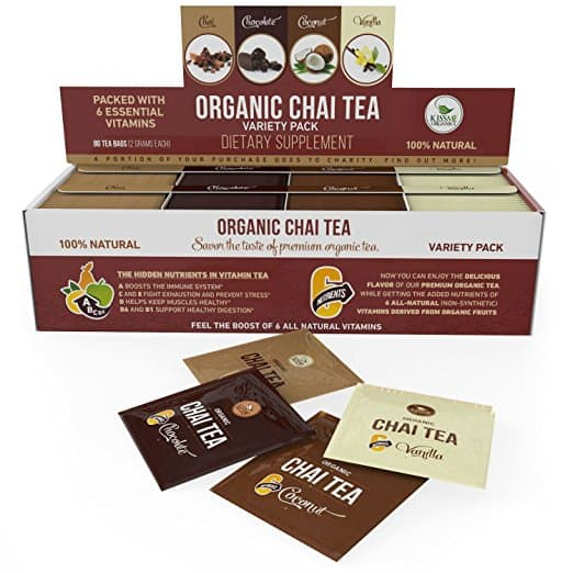 80-Count Kiss Me Organics Organic Chai Tea Variety Pack $4 or less w/ S&S + Free S/H