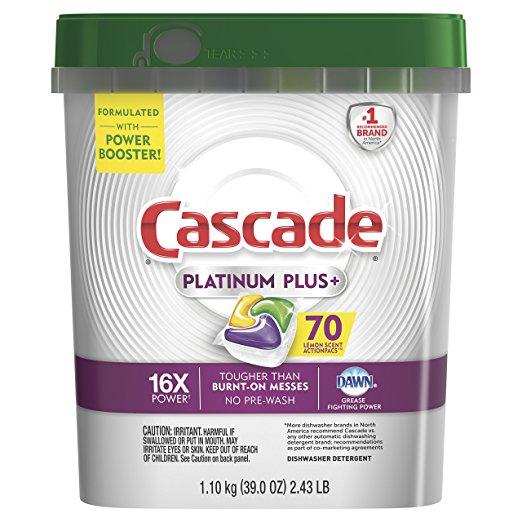 70-Count Cascade Platinum Plus Dishwasher Detergent Actionpacs (Lemon) $10.99