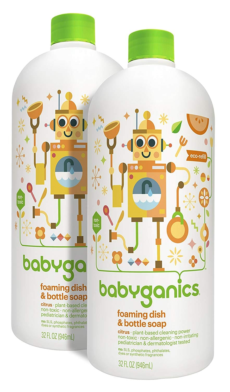 2-Pack of 32oz Babyganics Foaming Dish & Bottle Soap (Fragrance Free) $8.32 or less w/ S&S + Free S/H
