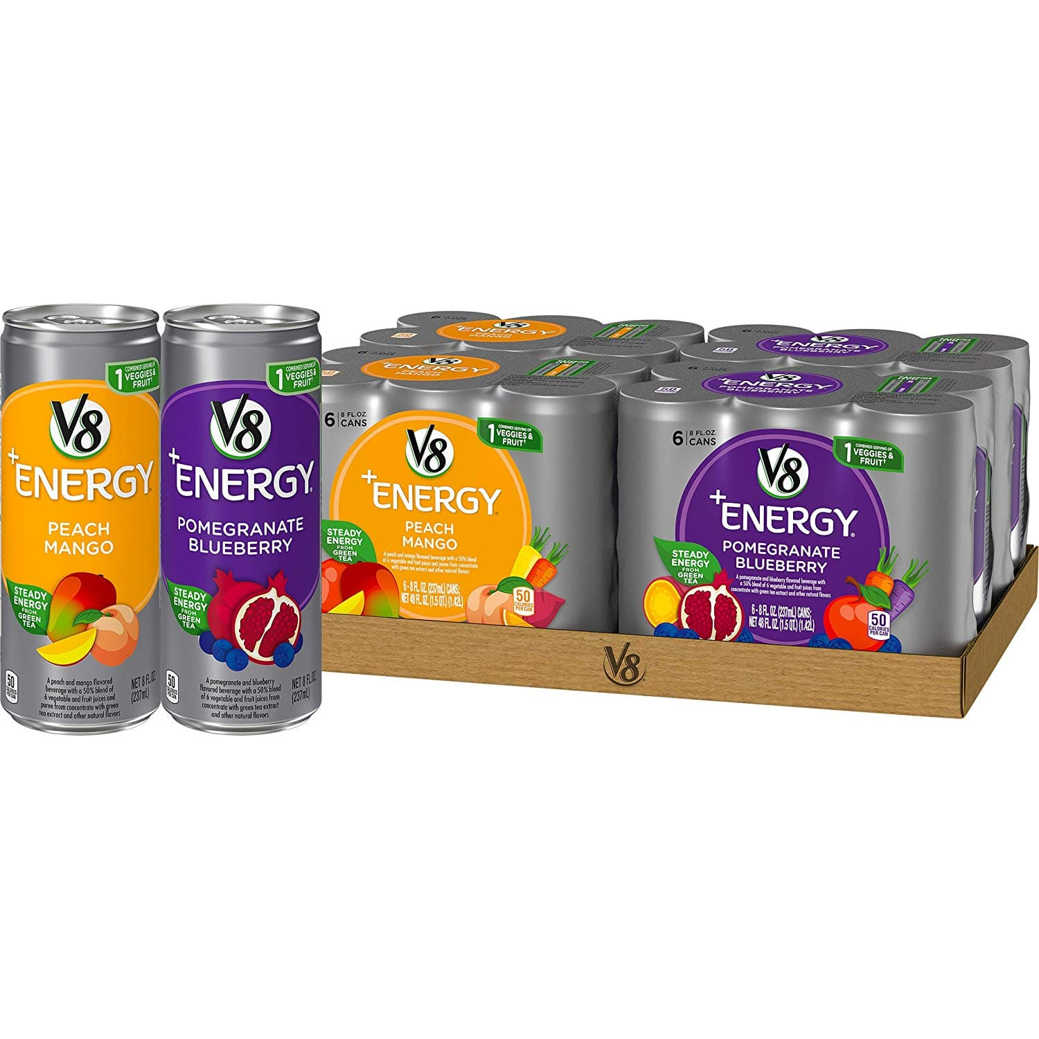 24-Pack of 8oz V8 +Energy Drinks (Peach Mango & Pomegranate) $6.43 or less w/ S&S & More + Free S&H *act fast*