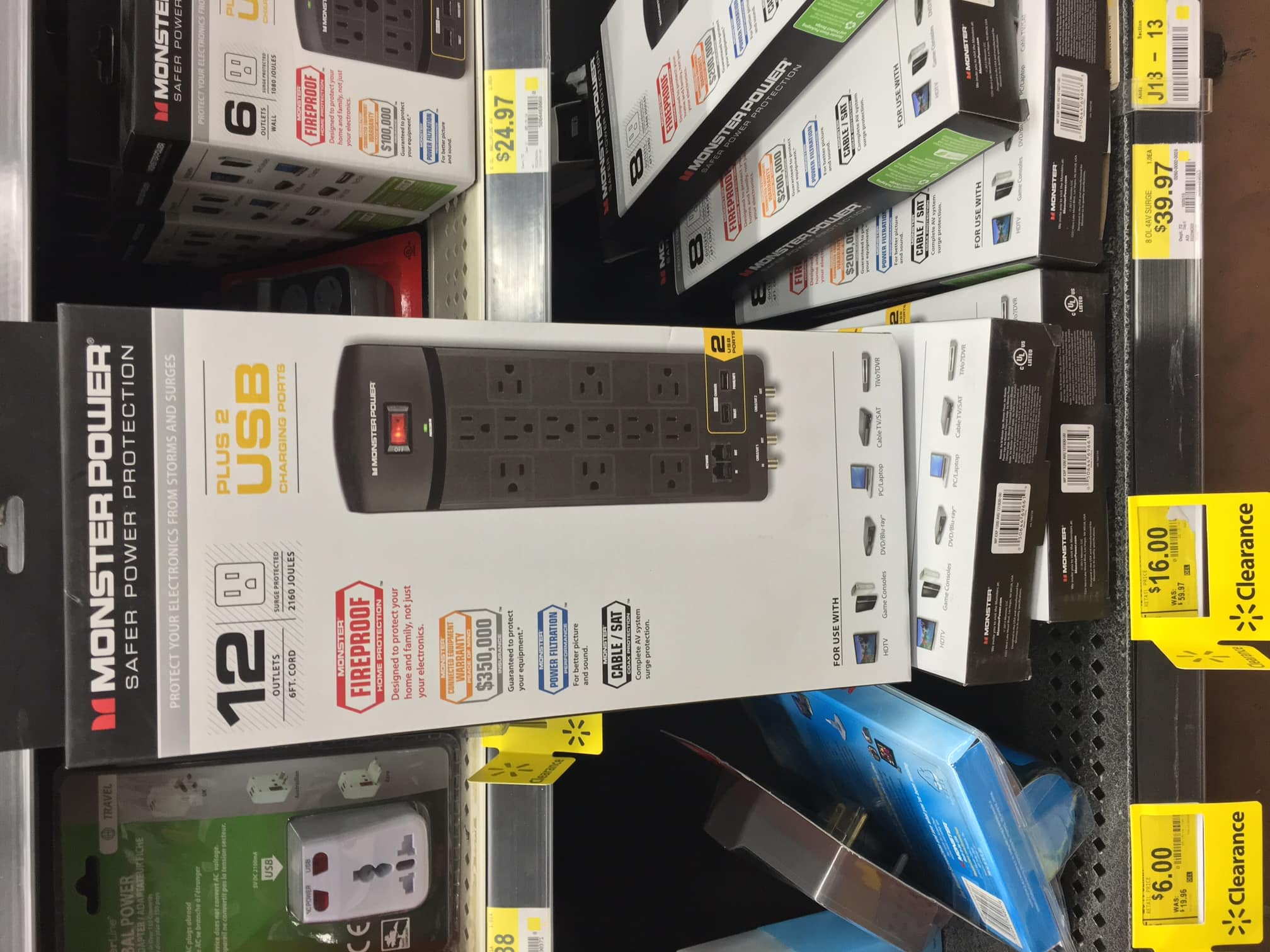 Monster power surge protector 12-outlet 2-USB 2160 Joules for $16 (Originally $60) @ Walmart B&M Clearance YMMV