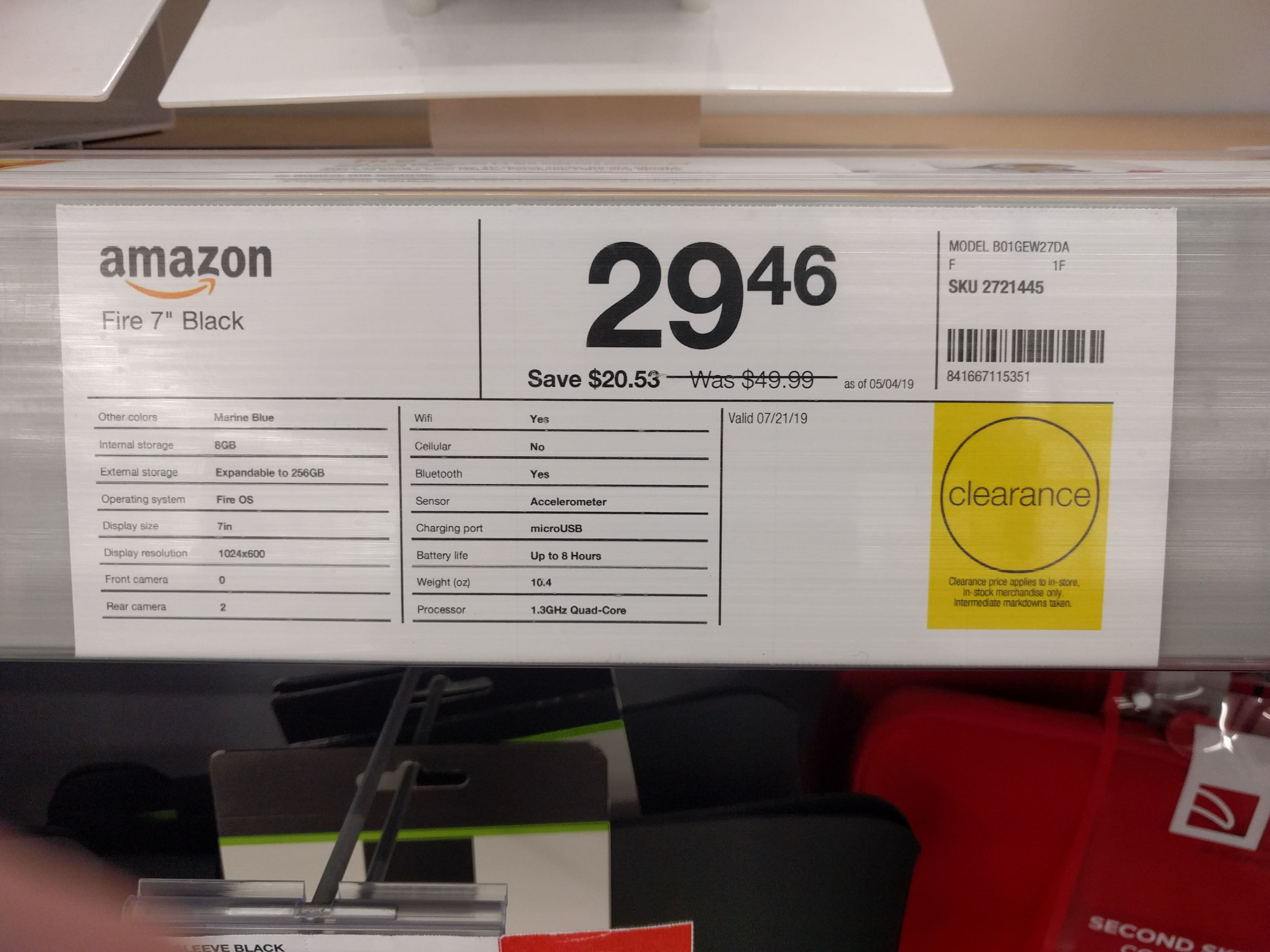 """YMMV Staples Amazon Fire 7"""" Android Tablet with Alexa, 8 GB (B01IO618J8) In-Store Only $24.96 $29.46"""