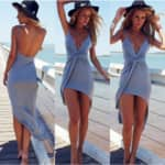 Nightclub Ladies Sexy Kink Bandage Deep V-neck Beach Dress $15.00 + ship @znu.com