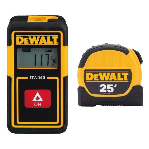 DeWalt 2-pack 40' Pocket Laser Distance Measurer and 25' Tape Measure $24.88