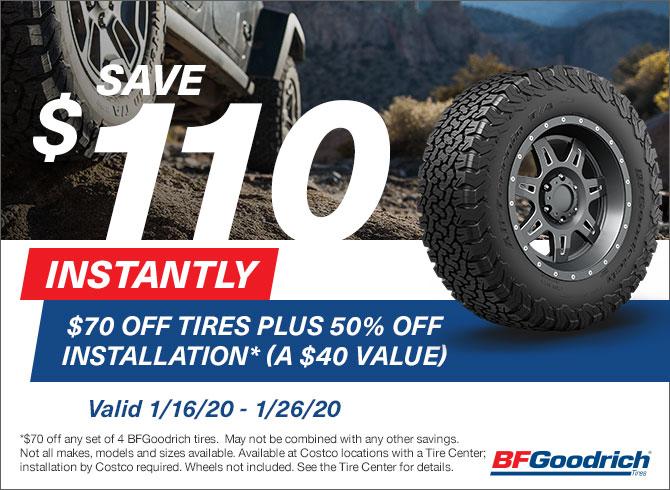 Costco Members: Buy 4 BFGoodrich Tires, Save $110 ($70 off tires + $40 off installation) - Thru 1/26/2020