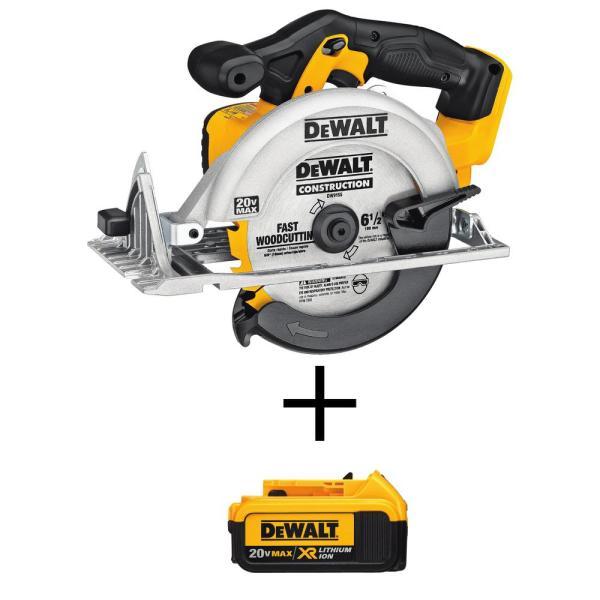 "DeWALT 20V 6-1/2"" MAX Lithium Ion Cordless Circular Saw + 4.0Ah Battery"