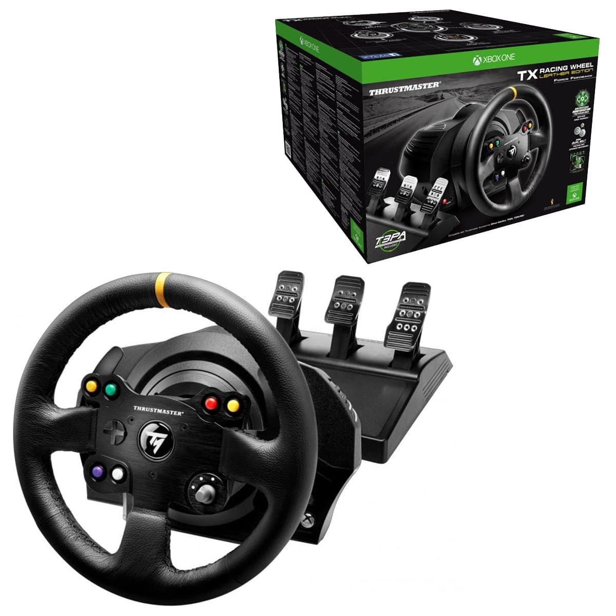 Thrustmaster VG TX Racing Wheel Leather Edition Premium Official Xbox One Racing Wheel for Xbox One and PC $357.49. Also T3PA Pro Pedals $97.49 at Best Buy.
