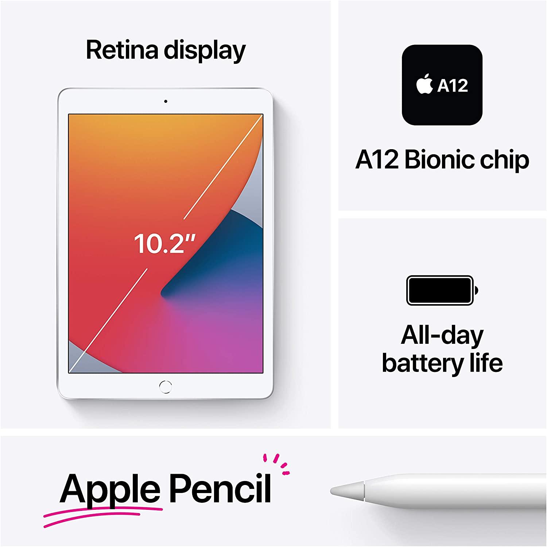 Apple iPad 8th Generation (10.2-inch, Wi-Fi, 128GB, Latest Model) - Silver $395