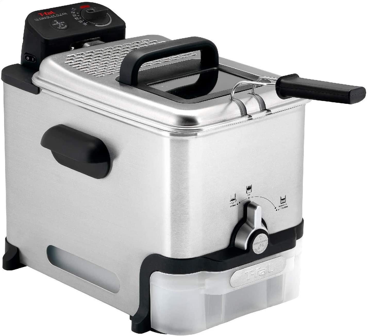 T-fal Deep Fryer with Basket, Stainless Steel, Easy to Clean Deep Fryer, Oil Filtration, 2.6-Pound, Silver, Model FR8000 [EZ Clean Deep Fryer] $74.99