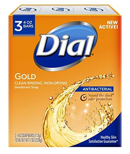 Dial Antibacterial Deodorant Bar Soap, Gold, 4 Ounce, 3 Bars $1.61 with Prime Shipping
