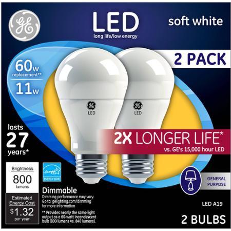 GE 60W Equivalent (Uses 11W) Soft White A19 2X Life LED Bulb, 2-Pack $2 Walmart B&M YMMV